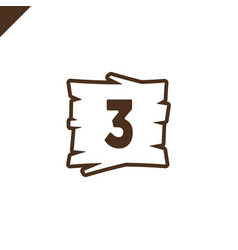 Wooden alphabet blocks with number 3 in wood vector