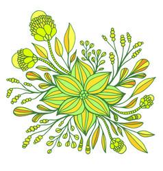 yellow lemon lime fantasy flower framed leaves vector image