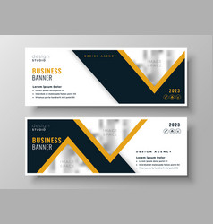 Yellow wide business banners template design vector