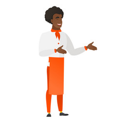young african-american happy chef cook gesturing vector image