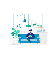 young man with beard reading book sitting on couch vector image