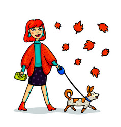 young stylish woman walking with dog cartoon vector image