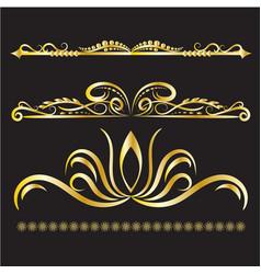gold vintage decorations elements flourishes vector image vector image