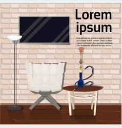 hookah lounge with shisha table armchair on tv vector image