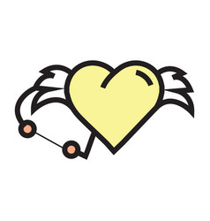 love hearts wings pen tool design yellow vector image vector image