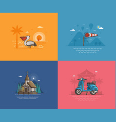 summer seaside backgrounds set vector image vector image