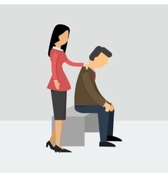 Women encourage her husband who is depressed vector