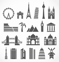 World famous signts abstract silhouettes vector image vector image