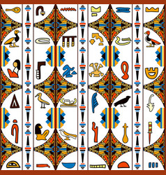 egypt colorful ornament with hieroglyphs vector image