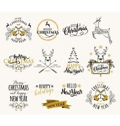 Merry Christmas and Happy vector image