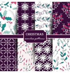 Set of winter seamless patterns vector image