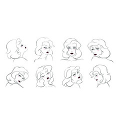 collection of beautiful young women vector image