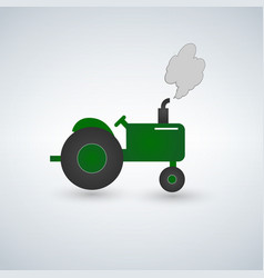 green tractor flat heavy farm machinery for vector image