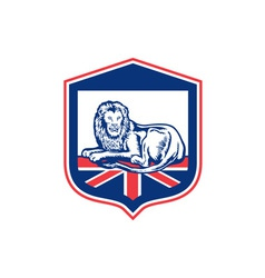 Lion Lying British Flag Shield Retro vector image vector image