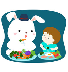 little cute boy eating vegetable with white rabbit vector image vector image