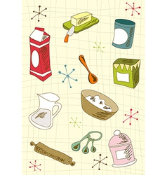 Retro cuisine icon set vector