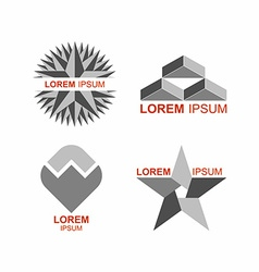 Set of logos in grey icons templates vector image vector image