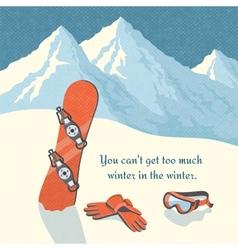 Snowboard winter mountain landscape vector image vector image