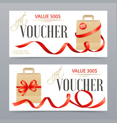 vouchers realistic ribbons set vector image vector image