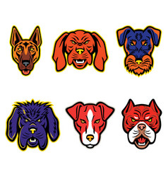 working dogs mascot collection set vector image