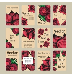 Colourful business cards with doodling flowers in vector