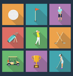icons of young people playing golf vector image vector image