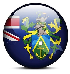 Map on flag button of pitcairn islands vector