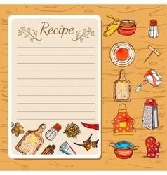 Recipe book and kitchenware vector