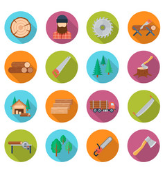 sawmill icon set vector image