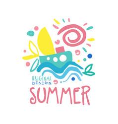 summer logo template original design colorful hand vector image vector image