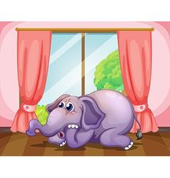 A worried face of an elephant inside the room vector