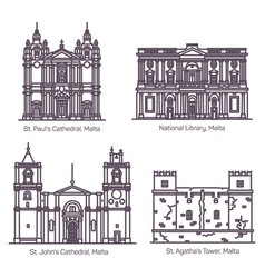 architecture malta in thin line cathedral vector image