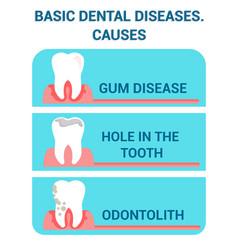 Basic dental diseases problems flat poster vector