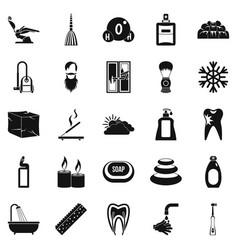 Bathe icons set simple style vector