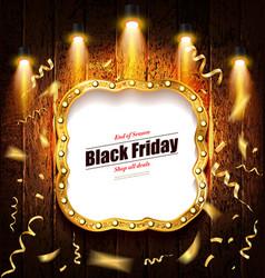 black friday retro light frame vector image