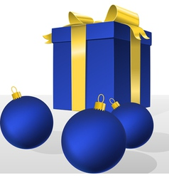 Blue christmas gift box and balls vector