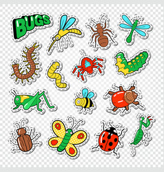 bugs and insects stickers badges and patches vector image