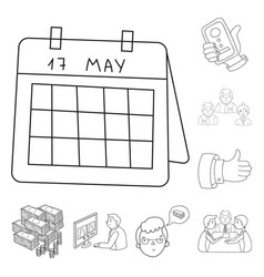 business conference and negotiations outline icons vector image