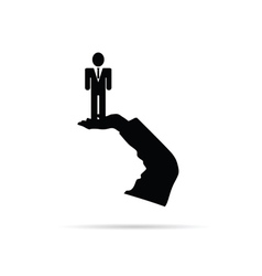 businessman in hand silhouette vector image