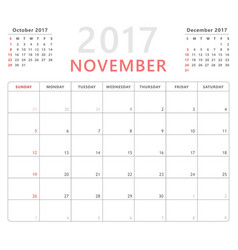 Calendar planner 2017 november week starts sunday vector