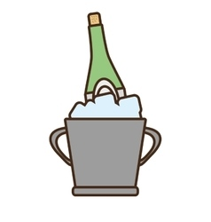 Cartoon champagne bucket bottle ice design vector