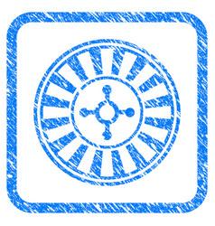 Casino roulette framed grunge icon vector