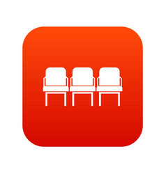chairs in the departure hall icon digital red vector image