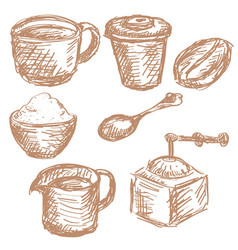 coffee set vintage items hand drawn sketch vector image