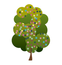 colorful silhouette leafy tree with pixels square vector image