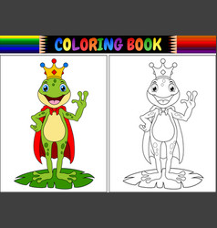 coloring book king frog cartoon vector image