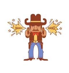 cowboy with guns wild west gunslinger shoots vector image