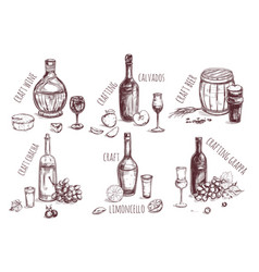 Craft drink sketch elements set vector