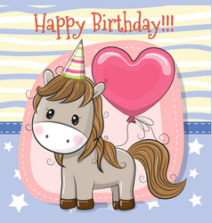 cute cartoon horse with balloon vector image