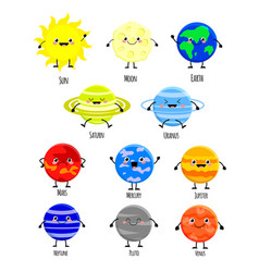 cute cartoon solar system planets vector image